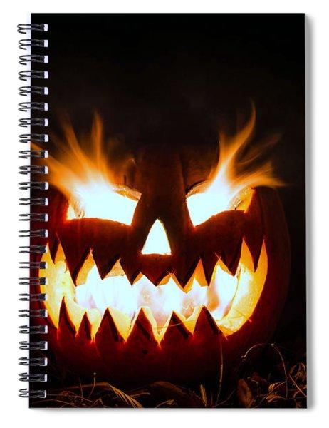 Flaming Pumpkin Spiral Notebook