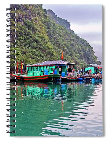 Floating Market In Halong Bay, Vietnam Spiral Notebook