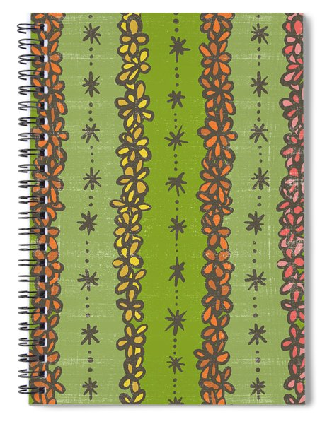 Floral Stripes Pattern Spiral Notebook