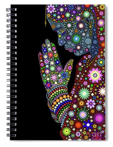 Flower Prayer Girl Spiral Notebook
