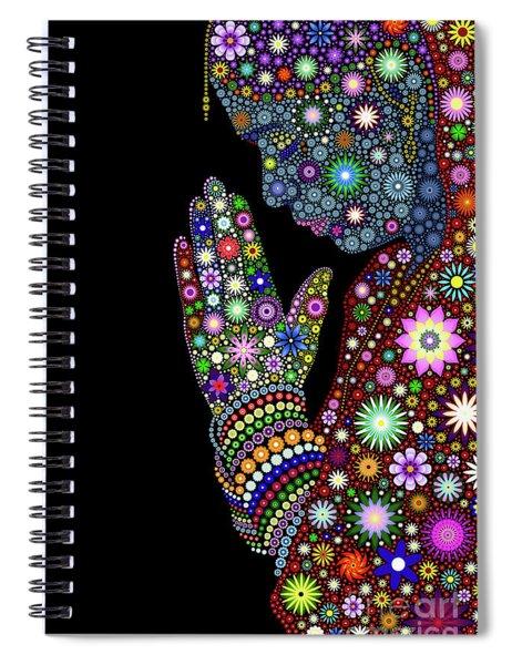 Flower Prayer Girl Spiral Notebook