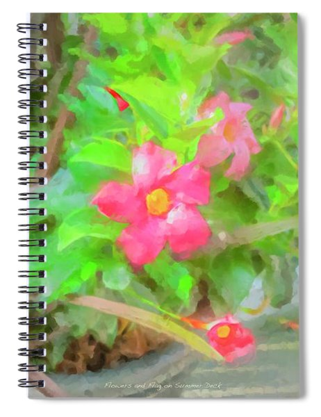 Flowers And Flag On Summer Deck Spiral Notebook