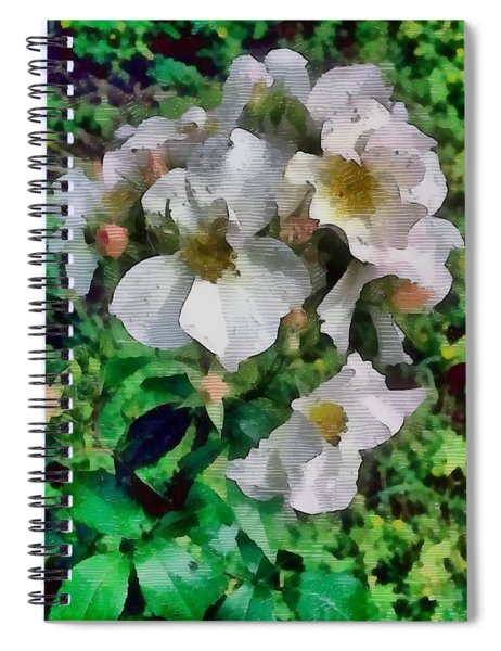 Flowers In Wood Etch Spiral Notebook by Mario Carini