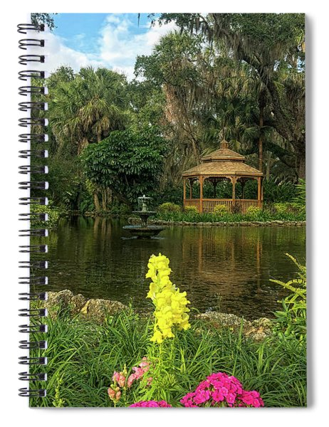 Flowers To Gazebo By The Lake Spiral Notebook
