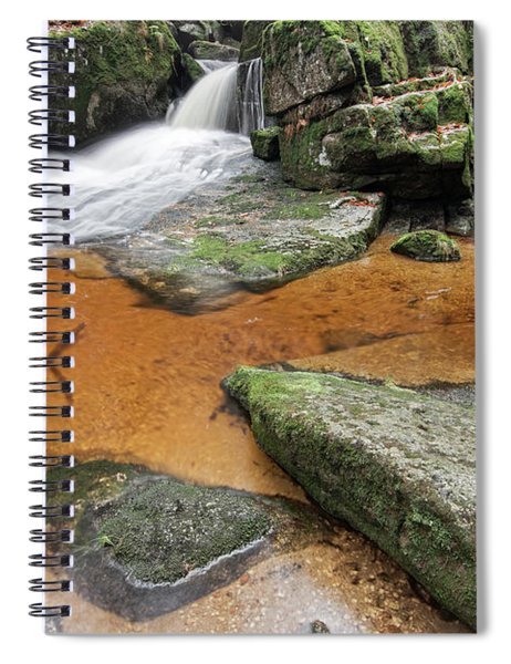 Flowing Water Through Boulders On A Forest Creek Spiral Notebook