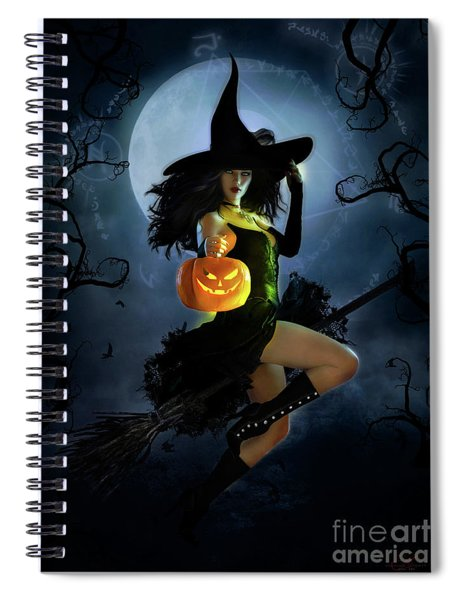 Fly By Night Halloween Spiral Notebook