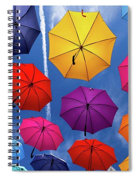 Flying Umbrellas I Spiral Notebook