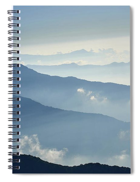 Fog Above Mountain In Valley Himalayas Mountains Spiral Notebook