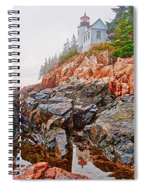 Foggy Bass Harbor Lighthouse Spiral Notebook