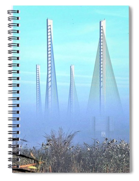 Foggy Morning At The Indian River Inlet Bridge Spiral Notebook
