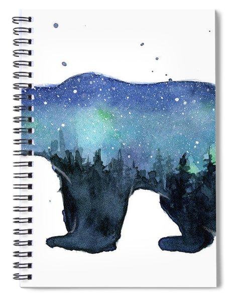 Forest Bear Watercolor Galaxy Spiral Notebook