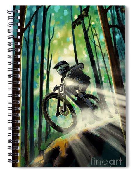 Forest Jump Mountain Biker Spiral Notebook