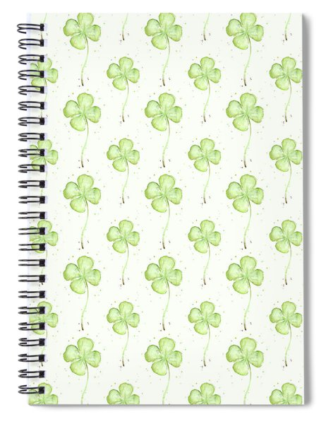 Four Leaf Clover Lucky Charm Pattern Spiral Notebook