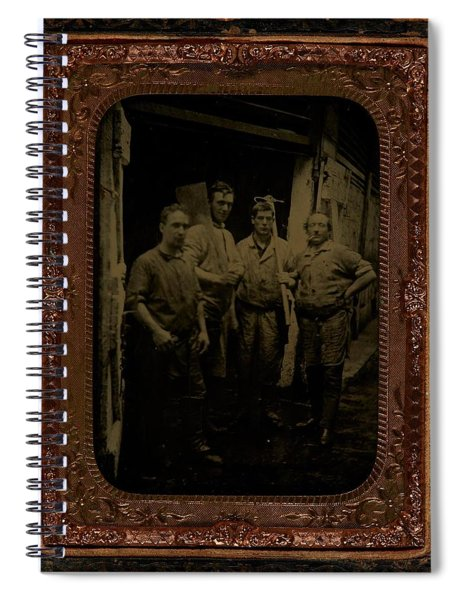 Four Men With Tools  Ca  1860 Ambrotype Spiral Notebook