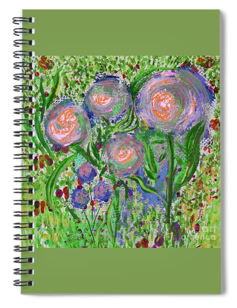 Four Pink Flowers In Green Spiral Notebook