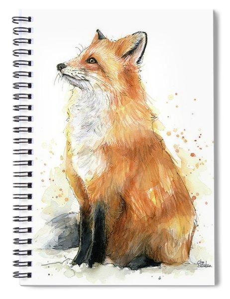 Fox Watercolor Spiral Notebook