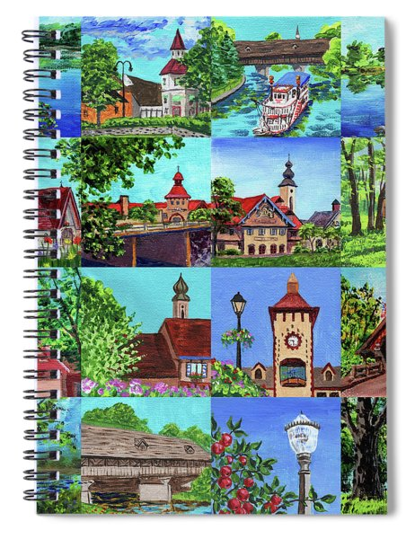 Frankenmuth Downtown Michigan Painting Collage I Spiral Notebook