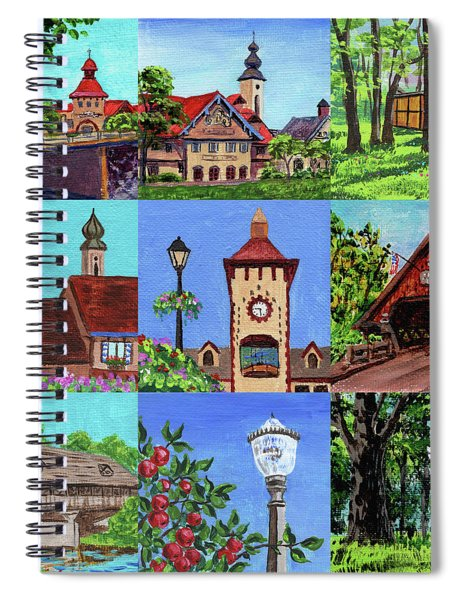 Frankenmuth Downtown Michigan Painting Collage Iv Spiral Notebook