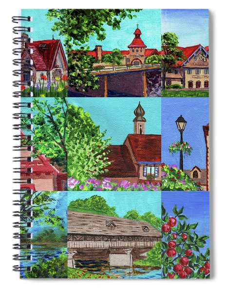 Frankenmuth Downtown Michigan Painting Collage V Spiral Notebook