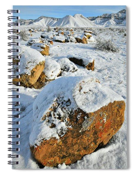 Fresh Snow On Book Cliffs Boulders Spiral Notebook