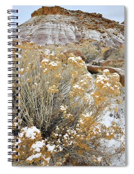 Fresh Snow On Rabbit Brush And Bentonite Dunes Spiral Notebook