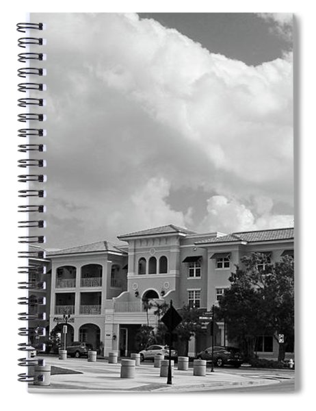 Friendly Town In Black And White Spiral Notebook
