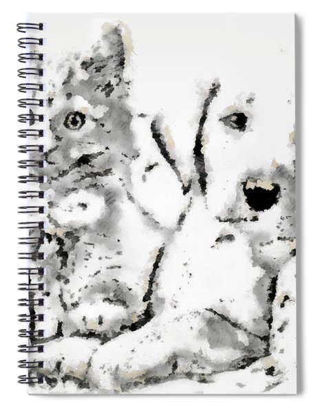 Spiral Notebook featuring the digital art Friends Fpr Life by Mario Carini