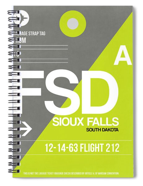Fsd Sioux Falls Luggage Tag II Spiral Notebook