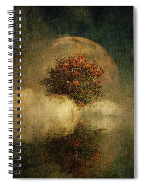Full Moon Over Misty Water Spiral Notebook by Jan Keteleer
