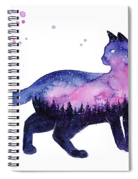 Galaxy Forest Cat Spiral Notebook