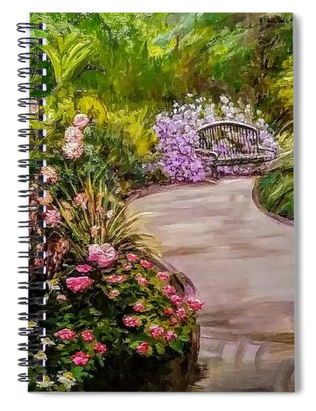 Path To The Garden Bench At Evergreen Arboretum Spiral Notebook
