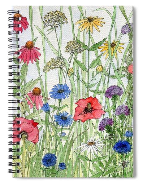 Garden Flower Medley Watercolor Spiral Notebook
