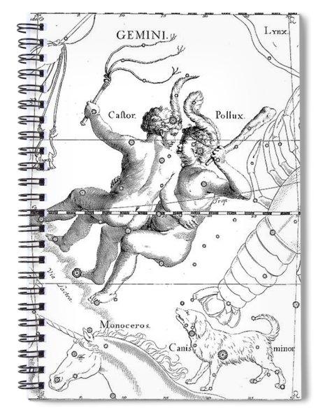 Gemini Engraving From A Celestial Atlas  Spiral Notebook