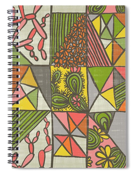 Geometric Flowering Cacti Spiral Notebook