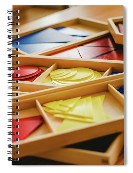 Geometric Material In Montessori Classroom For The Learning Of Children In Mathematics Area. Spiral Notebook