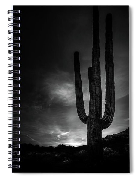 Giant Saguaro Black And White Spiral Notebook