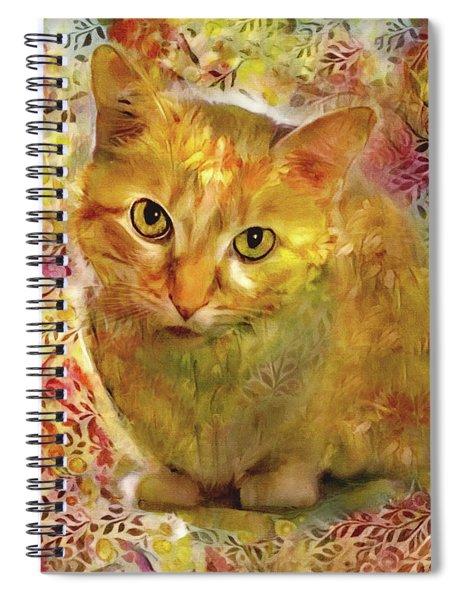 Ginger Cat - Gold Floral Spiral Notebook