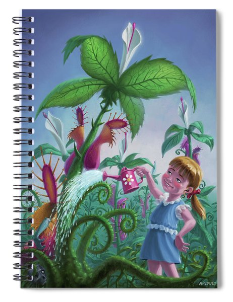 Girl Watering Horror Plants Spiral Notebook by Martin Davey