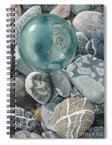 Glass Float And Beach Rocks Spiral Notebook