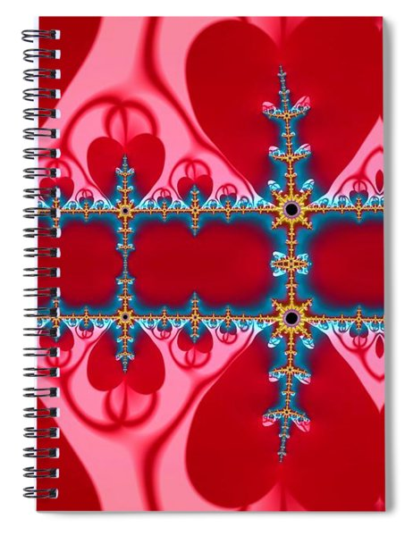 Gods Love And Mercy Is Infinite Fractal Abstract Hearts Spiral Notebook by Rose Santuci-Sofranko