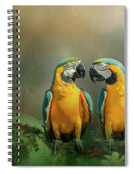 Gold And Blue Macaw Pair Spiral Notebook