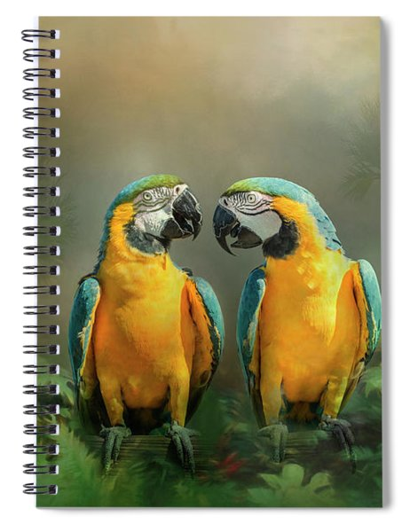Spiral Notebook featuring the photograph Gold And Blue Macaw Pair by Patti Deters