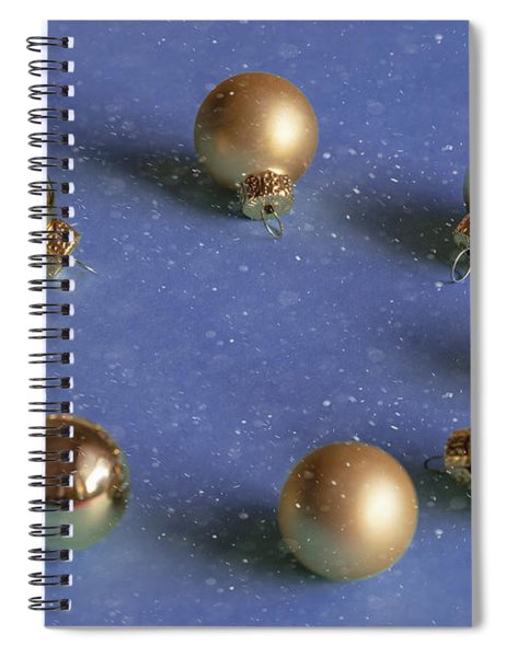Golden Christmas Balls On The Snowy Background Spiral Notebook