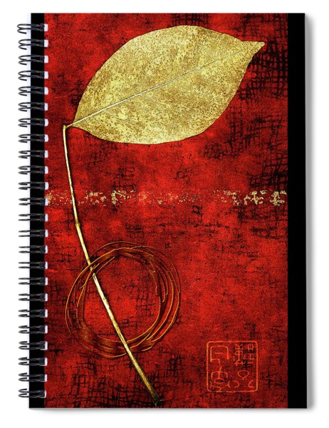Golden Leaf On Bright Red Paper Spiral Notebook