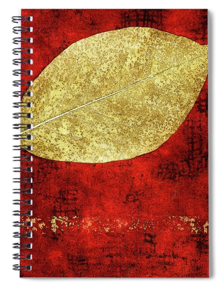 Golden Leaf On Bright Red Paper Square Spiral Notebook
