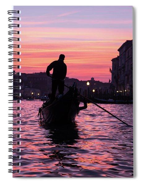 Gondolier At Sunset Spiral Notebook