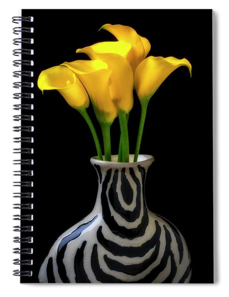 Graphic Vase And Calla Lilies Spiral Notebook
