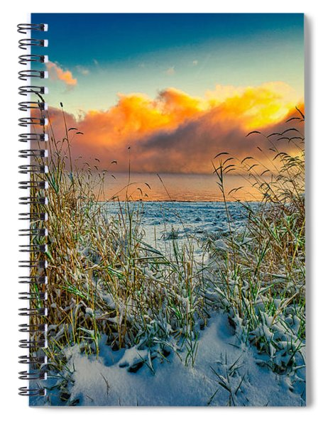 Grass And Snow Sunrise Spiral Notebook