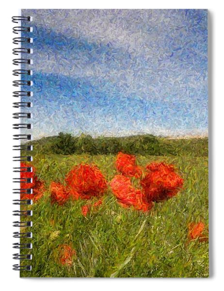 Grassland And Red Poppy Flowers 3 Spiral Notebook