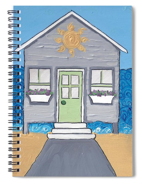 Gray Cottage On The Beach Spiral Notebook